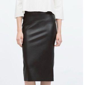 Zara - Faux Leather Pencil Skirt